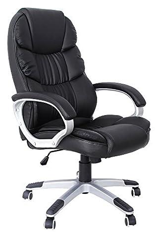 Songmics noir Chaise fauteuil de bureau Chaise pour ordinateur hauteur réglable simili cuir OBG24B