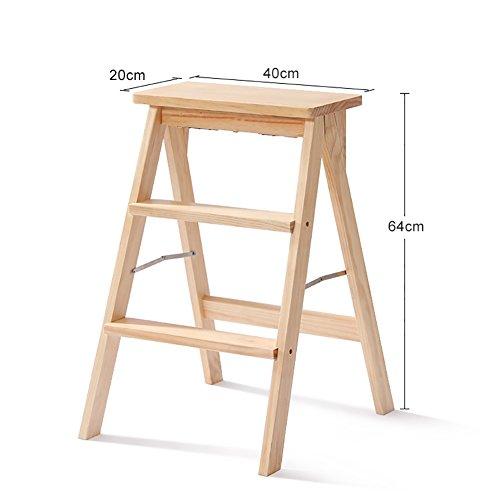 ChangDe Holzstufenhocker Küche Holz Trittleiter Leiter Für Erwachsene Massivholz Klapp Trittleiter Tragbare Klapp Fußbank Multifunktions Kleine Hocker Bank Trittleiter aus Holz