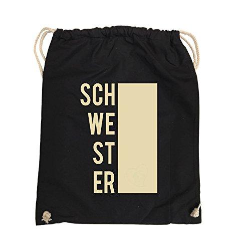 Comedy Bags - SCHWESTER - BLOCK - Turnbeutel - 37x46cm - Farbe: Schwarz / Pink Schwarz / Beige