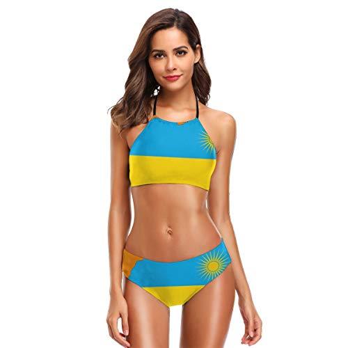 Ruanda Flagge Karte Womens Badeanzüge 2 Stück Bikini Set hoch taillierte Badeanzüge für Frauen M (2 Badeanzüge, Stück-junioren)