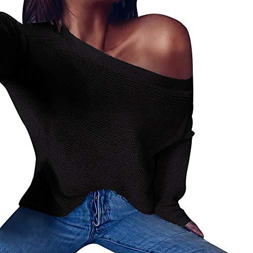 iHENGH Vorweihnachtliche Karnevalsaktion Damen Herbst Winter Bequem Lässig Mode Frauen Gestrickte Lanlern Sleeve Frauen Wrap Front lose Pullover Pullover Pullover