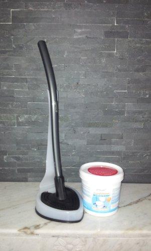 proWIN Toilettenbürste V7 - WC Cleaner - anthrazit/Frostweiß - Herzilein - + 1KG Active Orange Eimer