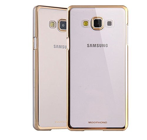 Meephone Noble Electroplated Edge Clear Hard Back Case Cover for Samsung Galaxy J7 - Gold