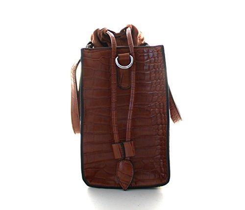 Damen Handtasche, Diese Schultertasche gibt es in den Variationen Camel, Braun, Coffe, Grau, Schwarz, Rot Camel