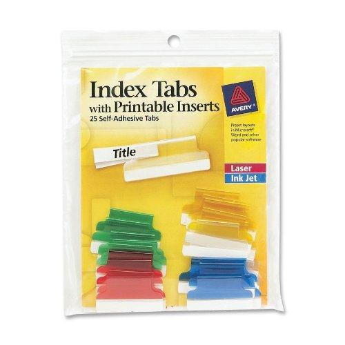 Avery Selbstklebende Index Tabs Asst 1in 25 Pk 1 3 Schneiden 16219 6er Pack