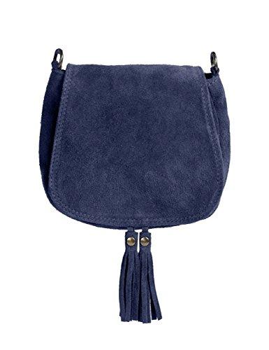 Ledertasche dunkel blau klein Lederhandtasche Umhängetasche Fransen echt Leder Tasche Wildleder Handtasche Vintage Damen (Hippie Up Make)