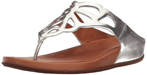 Fitflop™ Bumble™ Leather Toe-post Sandal Silberspiegel