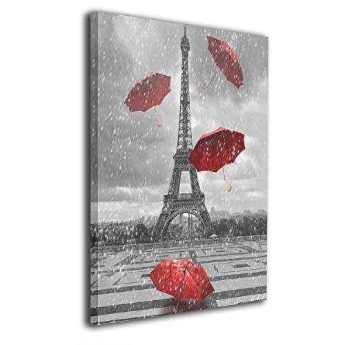 IMAGESPACE ART Wall Art Painting Eiffel Tower Red Umbrellas In Rain Prints On Canvas Ready to Hang for Home Modern Decoration Print Decor for Living Room 16
