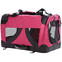 Bolso transportín para perros o gatos Nobleza, material blando de color rojo, largo 50,8cm