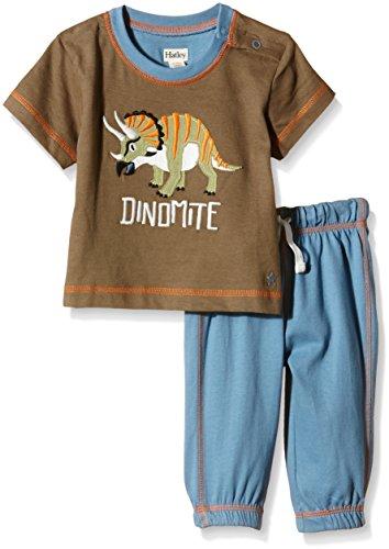 Hatley Infant Tee & Track Pant Set-Wild Dinos Ensemble Multicolore-Multicoloured (Brown), 24 Mois Bébé garçon