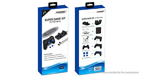Dobe PS4 Pro Super Game Kit (TP4-1751) für Sony PlayStation 4 Pro System (Dual Charging Dock, Vertical Stand for Slim/Pro, Stereo Kopfhörer, Controller Silikonhülle, Silikon Thumbstick Cover) -