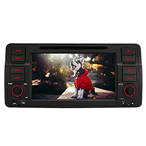 Pumpkin 7 inch 5.1 Lollipop Android Car Stereo 1 Din Head Unit with DVD Player Support GPS, DAB+, Phone Link, Bluetooth, Radio, 3G WIFI, Steering Wheel Control, USB SD, Subwoofer, AUX, AV Output for BMW E46 Series (Support Harmon Kardon