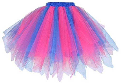 Jahre 1950er Für Kostüme Frauen (Dancina Damen Petticoat 50er Jahre Vintage Tutu Tüllrock Blau / Pink)