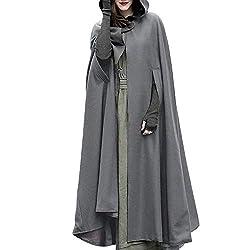 NPRADLA 2018 Mittelalter Umhang Damen Kapuze Einfarbig Elegant Frauen Trenchcoat Open Front Cardigan Jacke Mantel Cape Poncho Oversized(XL,Grau)