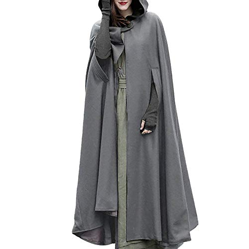 Vectry Damen Trenchcoat Weihnachten Spielraum Fashion Solid Kapuzen Umhang Poncho Frauen Warm Open Front Cardigan Jacke Mädchen Outdoors Windbreaker Wintermantel Parka Verein Party Mantel ()