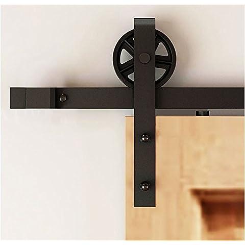 hahaemall 4,9m/4.88m doppia in metallo, Rullo Scorrevole Barn Doors Hardware Track Rolling Set per legno porta