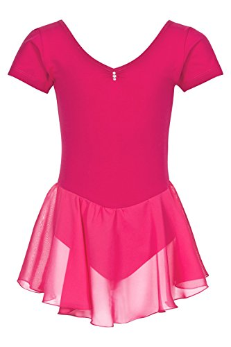 tanzmuster Kinder Kurzarm Ballettanzug Betty aus Baumwolle mit Glitzersteinen und Chiffon Röckchen in pink, - Frieden Mädchen Kostüm