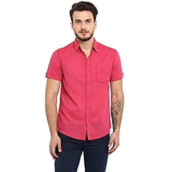 Mufti Pink Solid Half Sleeves Spread Collar Linen Blend Shirt