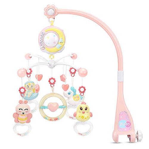 Bambino Sonagli Presepe Cellulari Titolare del Giocattolo di Rotazione Presepe Mobile Letto Musical Box di Proiezione 0-12 Mesi Appena Nato Infantile Pink