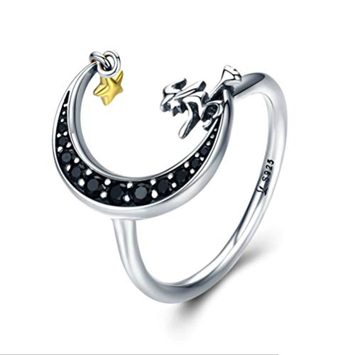 Ring Mond Hexe Sterling Silber S925 Diamant Ring Mode Kreative Frau,No.6 (Diamant-schwester-ring)