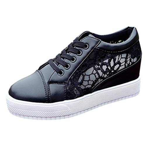 CUTUDE Damen Sommer Casual Wild Einfach weißen Schuhe Farbabstimmung Sport Fashion Lazy Schuhe Freizeitschuhe Studentenschuhe (Schwarz, 35 EU)