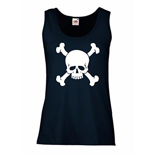 lepni.me Damen Tank-Top Totenkopf, Warnzeichen - Nicht Berühren (XX-Large Blau Weiß) (T-shirt Es Chinesen Lieben)
