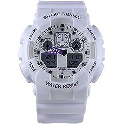 Adixion Sport White Round Dial Waterproof Digital Analog Watch - For Boys & Girls