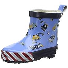 Playshoes Unisex Kid's Wellies Rain Boot Building Site Wellington Rubber, Blue Lightblue 17, 3 UK Child 19 EU