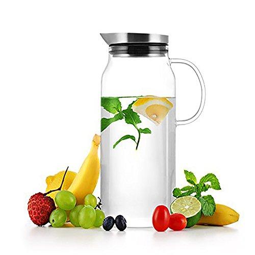 LeOx – Karaffe 1,3 L Borosilikat-glas/Edelstahl Wasserkaraffe mit Deckel Karaffe mit Verschluss Bleikristall Kühlkaraffe mit Griff 1300 ml
