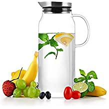 LeOx- Caraffa 1,3 L Vetro Borosilicato & Acciaio inossidabile Bottiglia con Coperchio Vetro Acqua Caraffa Cristallo Refrigerante