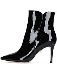 6142bf04eb433 Soireelady Bottine à Talon Haut - Femme - Bottes pour femmes - Hiver  Chaussures Taille Grande