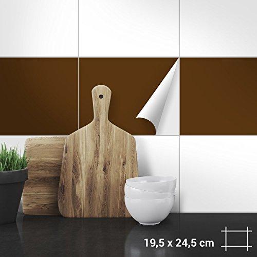Wandkings Fliesenaufkleber 19,5 x 24,5 cm, 20 Stück - BRAUN SEIDENMATT