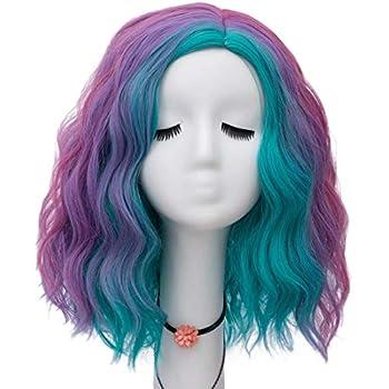 Dayiss/® Cosplay Femme Violet Bleu Rose boucl/ée ondul/ées en cheveux synth/étiques Cheveux Karnaval//Costume comme en cheveux plein Wig//Wigs