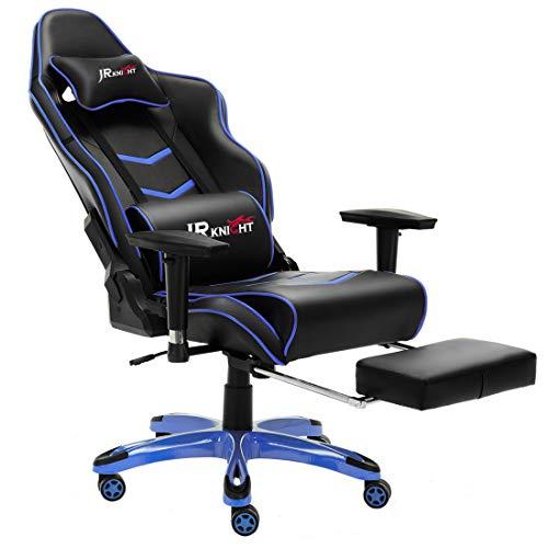 JR Knight Gaming Chair Pro, ergonomique Chaise de bureau à domicile Racing de luxe avec lombaire Taie d'oreiller et repose-pieds Tabouret, Gamer Motif fauteuil en cuir