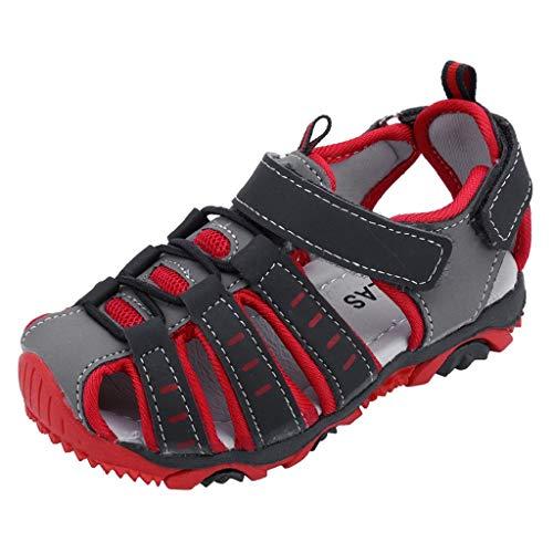 VJGOAL Baby Sandalen, Hohe Qualität Mädchen Junge Baby Kleinkind Mode Persönlichkeit Rutschfest Sandalen Hausschuhe(Rot,30) - 9t Schuhe Schwarze
