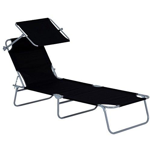 SAILUN® Liegestuhl Klappbar Sonnenliege Gartenliege Relaxliege mit Dach, 188 x 58 x 24 cm (Schwarz)