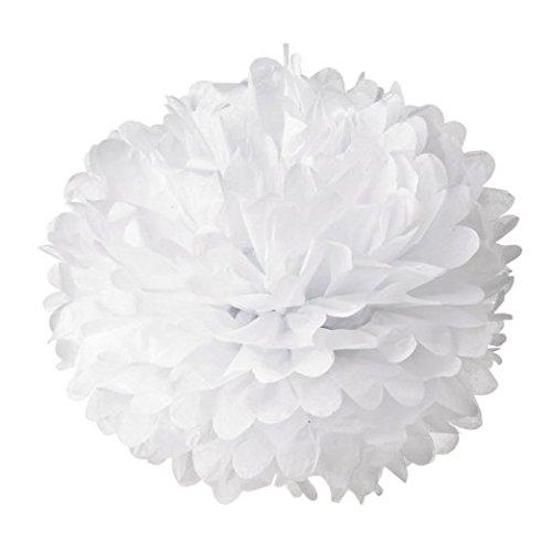 10 x Pompon Boule de Fleur en Papier de Soie Décoration de Noce - Blanc