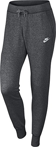 Nike Damen Sportswear Fleece Hose, Charcoal Heather/Dark Grey/White, L