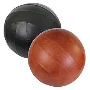 POWRX Ballon de Gymnastique 65 cm ou 75 cm avec Pompe Incluse/Revêtement en Cuir de Vache, Cuir de Buffle, ou Similicuir/Noir ou Brun/Garantie Anti-éclatement (Cuir de Buffle Noir, 65 cm)