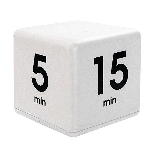 Datexx Time Cube Der Wunder-Zeitwürfel mit 5, 15, 30 und 60 Minuten für das Zeitmanagement - Küchen-Timer - Hausaufgaben-Timer - Trainings-Timer - Meeting-Timer | weiss