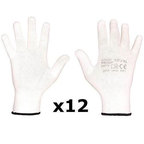 Proof Gestrickte Polyester Arbeitshandschuhe - Montagehandschuhe, angenehm, für Reparaturen, Lager, für den Heimgebrauch, Endbearbeitung, Werkstatt, Montage, Handwerk, Verpackung (9 (12 Paar), Weiß)