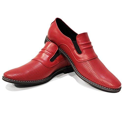 Rindleder Herren Mokassin (PeppeShoes Modello Slipredo - 46 - Handgemachtes Italienisch Bunte Herrenschuhe Lederschuhe Herren Rot Mokassins Müßiggänger und Slip-Ons - Rindsleder Geprägtes Leder - Schlüpfen)