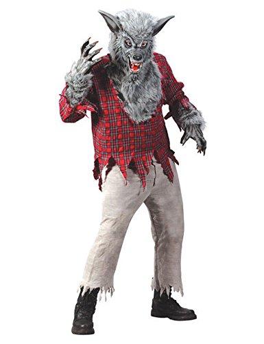 Werwolf Halloween Kostüm grau rot ()