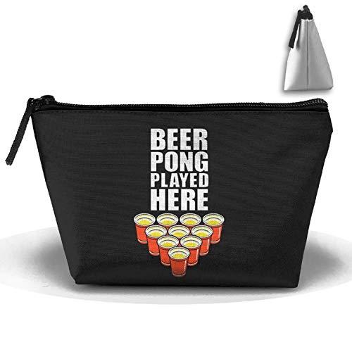 Bier Pong Waschen (Trapeztasche für Bier-Party, Pong, Aufbewahrungstasche, Doppeldruck, Handtasche, Reißverschluss, Kosmetiktasche, Stifthalter mit Reißverschluss)
