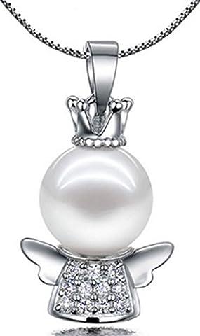 SaySure - S925 Silver CZ Crystal Angel Shell Pearl