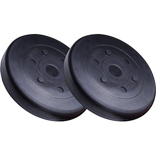 ScSPORTS® 10 kg Hantelscheiben-Set Kunststoff 2 x 5 kg Gewichte 30/31 mm Bohrung - leise und bodenschonend für Zuhause