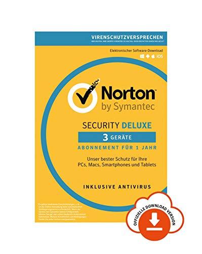 Norton Security Deluxe Antivirus Software 2019/Zuverlässiger Virenschutz (Jahres-Abonnement) für bis zu 3 Geräte/Download für Windows (u.a. Vista, 8 & 10), Mac, Android & iOS [Online Code]