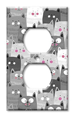 Übergroße Wandplatte, Grau/Weiß mit Katzenwurf, Übergröße Steckdose Mehrfarbig -