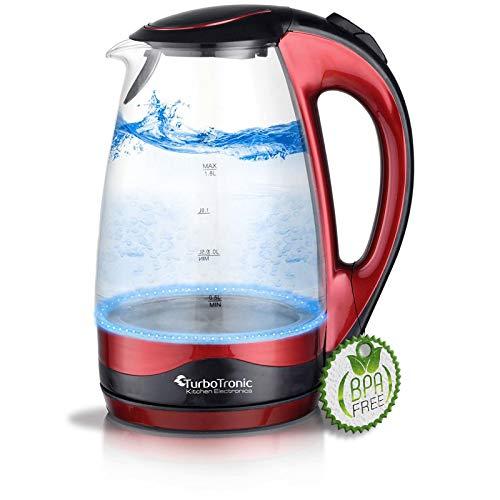 TurboTronic Glas Wasserkocher 1,8 Liter mit Kalkfilter und LED Beleuchtung Blau (innen) BPA Frei, Leistung: 2200 Watt
