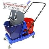 Cubo de fregado profesional Clim Profesional® con doble cubo de 24 litros y prensa. Carro de fregado con ruedas y robusta estructura para utilización profesional